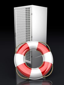 A life belt with a Server tower. 3d rendered Illustration.
